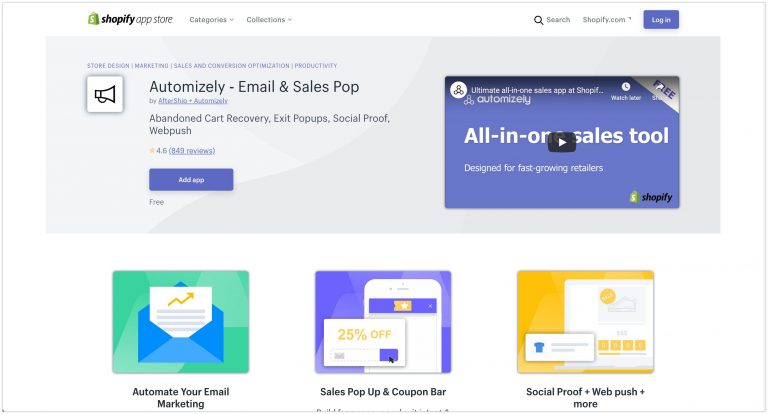 Automizely ‑ Email Sales Pop Shopify App Store 2020 768x414