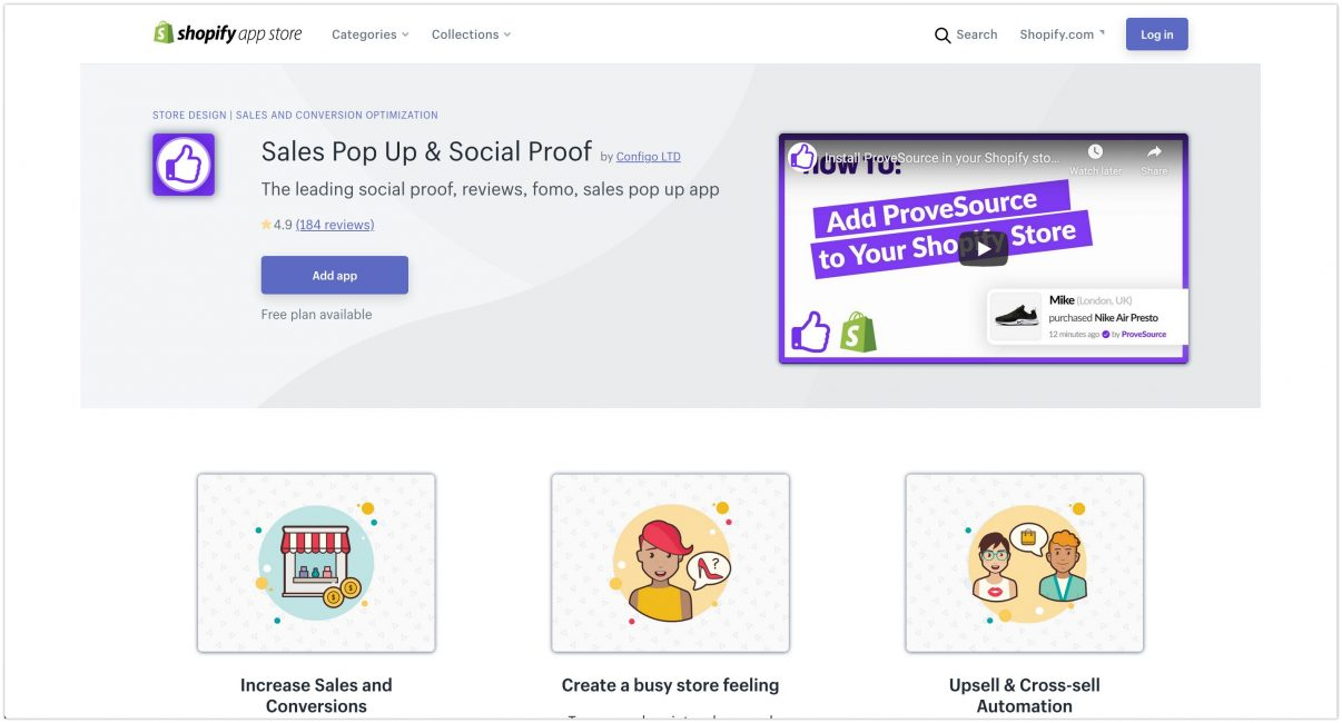 Sales Pop Up Social Proof Shopify App Store 2020 1206x650